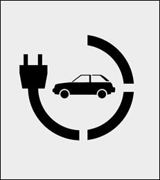 Szablon malarski Parking dla pojazdów elektrycznych
