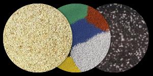 Kolorowy piasek kwarcowy + bezbarwny poliuretan