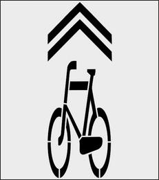 Szablon znak Kierunek i tor ruchu roweru P-27