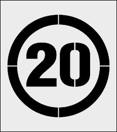 Ograniczenie prędkości 20 km/h szablon do malowania