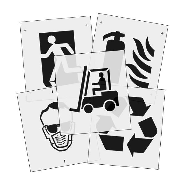 Szablony malarskie znaków magazynowych, symboli BHP