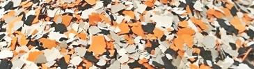 Płatki dekoracyjne białe, pomarańczowe, popielate, czarne